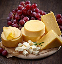 Photo Cheese Grapes Cutting board Food
