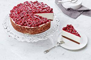 Wallpaper Cherry Cheesecake Piece Saucer Fork Food