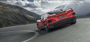 Images Chevrolet Back view Red 2020 Corvette C8 Stingray Cars