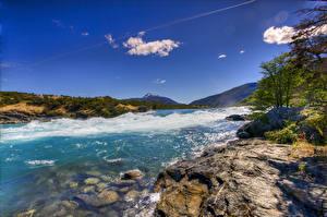 Bilder Chile Küste Wasserwelle Bucht Hügel Patagonia Natur