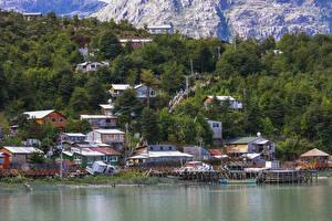 Hintergrundbilder Chile Gebäude Bootssteg Caleta Tortel Städte