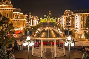 Hintergrundbilder China Hongkong Disneyland Park Haus Abend Design Straßenlaterne Bank (Möbel)