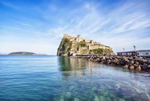 Wallpaper Coast Italy Castle Naples Ischia Aragonese Cities