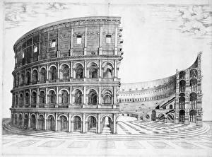 Bureaubladachtergronden Colosseum Rome Geschilderde Zwart wit construction of the colosseum Steden