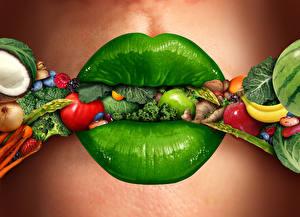 Fotos Kreativ Lippe Gemüse Obst Grün Lebensmittel