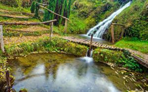 デスクトップの壁紙、、クロアチア、公園、池、滝、橋、Rastoke Slunj、自然