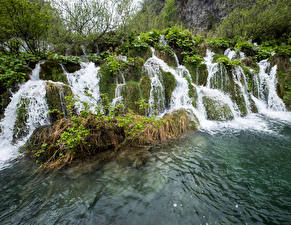 Fotos Kroatien Park Wasserfall Plitvice Park Stream Fall Natur