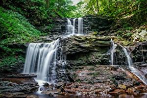 Bilder Kroatien Wasserfall Felsen Laubmoose Waterfalls at Ricketts Glen Natur