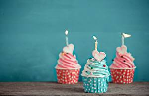 Bilder Cupcake Kerzen Drei 3 Herz das Essen