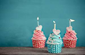 Wallpaper Cupcake Candles Three 3 Heart