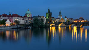 Wallpaper Czech Republic Prague Houses Rivers Bridge Evening Marinas Cities