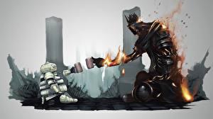 Bilder Dark Souls Riese (Mythologie) Flamme Fanart Becher Rüstung 2 Siegmeyer of Catarina Yhorm computerspiel