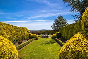 Hintergrundbilder England Garten Springbrunnen Design Strauch Rasen Ascott House Gardens Buckinghamshire