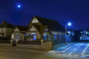 Pictures England Houses Church Night Street lights Fence Leabrook Methodist Church Wednesbury Cities