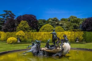 Fotos England Parks Springbrunnen Skulpturen Design Strauch Aylesbury Vale Natur