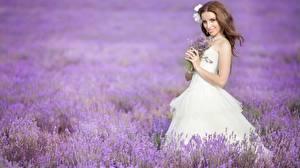 Bakgrunnsbilder Åker Lavendelslekta Brunt hår kvinne Smil Brud Kjole Unge_kvinner