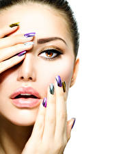 Pictures Fingers Lips White background Face Makeup Manicure female