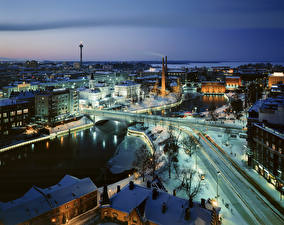 Wallpapers Finland Houses Rivers Bridges Winter Snow From above Tampere, province of Pirkanmaa Cities