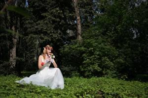 Pictures Forest Elf Bouquet Grass Sit Brides Gown Fantasy Girls