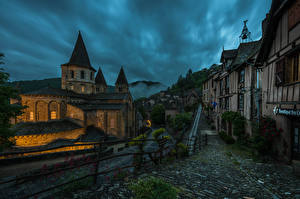 Picture France Building Evening Temples Church Street Fence Conques Cities