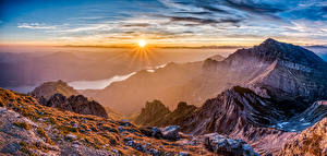 Fotos Frankreich Gebirge Morgendämmerung und Sonnenuntergang Fluss Landschaftsfotografie Sonne Pyrenees Natur