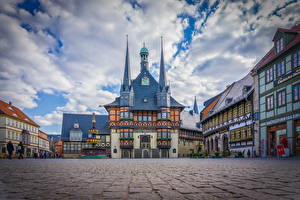 Wallpaper Germany Houses Clock Town square Wernigerode Cities