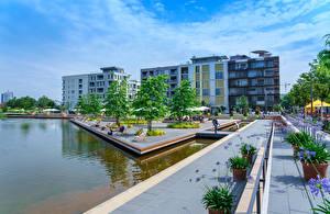 デスクトップの壁紙、、ドイツ、建物、池、公園、Heilbronn、都市