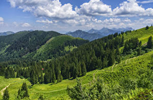 Images Germany Mountain Forest Sky Landscape photography Bavaria Alps Clouds Oberallgau Nature