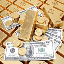 Papel de Parede Desktop Ouro Dinheiro Moedas Lingote