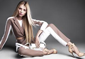Picture Purse Blonde girl Modelling High heels Legs Sit Vika Falileeva young woman