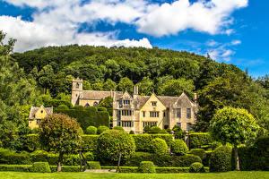 Wallpapers Building Landscape design England Mansion Shrubs Trees Stroud