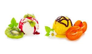 Picture Ice cream Apricot Kiwifruit Chocolate Matricaria White background Balls Food