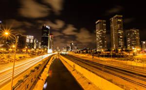 Hintergrundbilder Israel Haus Wege Eisenbahn Kanal Nacht Straßenlaterne Tel Aviv Städte