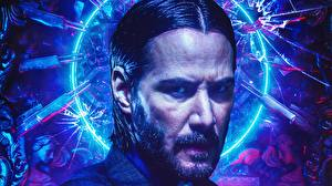 Desktop wallpapers Keanu Reeves Man John Wick: Chapter 3 – Parabellum Face Movies Celebrities