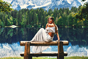 Photo Lake Brown haired Sit Smile Bench young woman