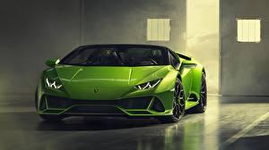 Hintergrundbilder Lamborghini Grün Vorne Spyder Huracan Evo 2019
