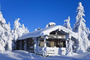 Images Lapland region Finland Houses Winter Snow Wooden Nature