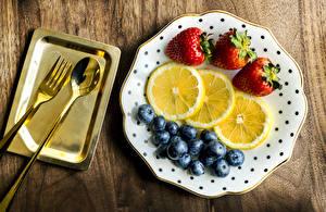 Wallpaper Lemons Strawberry Blueberries Plate Spoon Fork