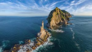Fotos Leuchtturm Meer Russland Insel Felsen Horizont sea Lion rock, Sakhalin island