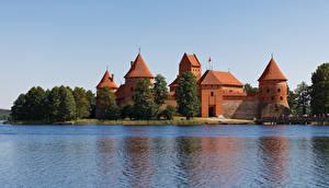 Bakgrunnsbilder Litauen Borg Innsjø Castle Trakai