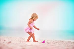 Photo Little girls Beach Sand