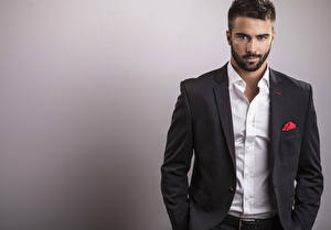 Pictures Man Gray background Staring Formal shirt Suit Beautiful Beards