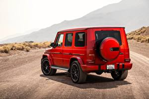 Pictures Mercedes-Benz G-Wagen Red Back view AMG 2018 G63 automobile