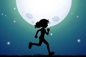 Pictures Moon Silhouette Running Little girls Night