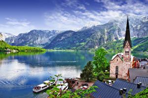 Bilder Gebirge See Kirchengebäude Seebrücke Binnenschiff Österreich Hallstatt Hallstatt lake, Salzkammergut region Städte