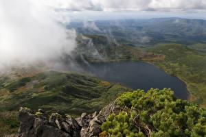 Hintergrundbilder Gebirge See Russland Wolke Von oben Sakhalin island