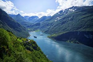 Fotos Norwegen Gebirge Bucht Geiranger Fjord Natur