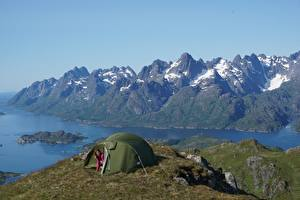 Hintergrundbilder Norwegen Gebirge Insel Zelt Lofoten Islands Natur