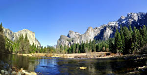 Wallpapers Parks Mountains Forest Rivers USA Yosemite Crag California Nature