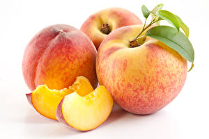 Picture Peaches White background Three 3 Piece Food